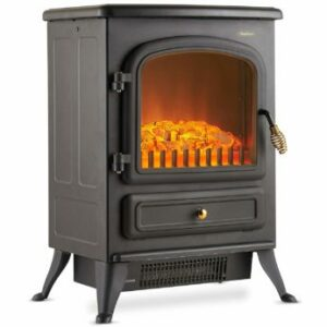 VonHaus Electric Stove Heater with Log Burner Flame Effect