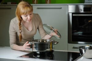 a young lady cooking