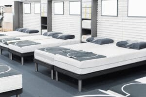 beds and pillows in store