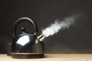 black kettle on table