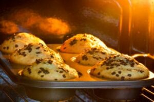 close-up-of-muffins-being-baked