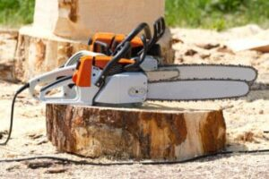 corded-and-cordless-chainsaws-on-a-tree-stump