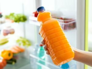 fresh orange juice stored in fridge