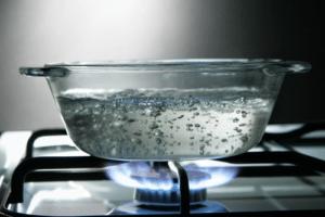 glass saucepan on stove
