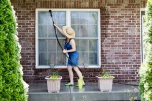 housewife washing the windows