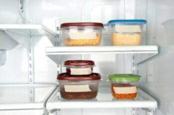 leftover food stored in fridge