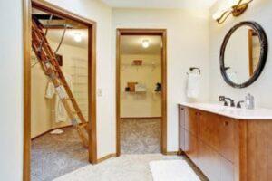 loft ladder in the bathroom