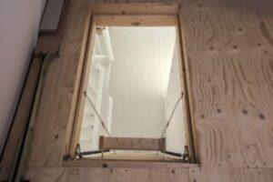 open loft hatch with ladder