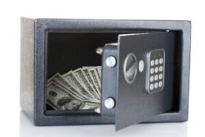 open safe with cash