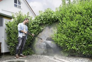 removing grime from a wall
