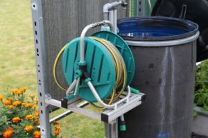 water barrel and hose