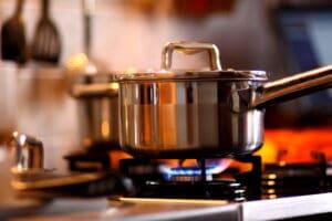 a pot on a gas stove