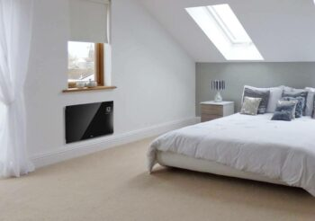 an attic room with a heating device