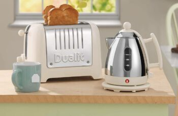 bread, mug, and kitchen appliances on counter