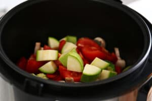 slices of veggies in a pot