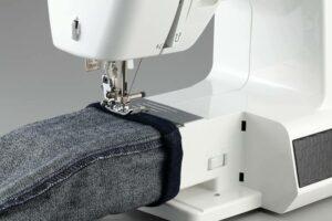 stitching denim fabric using electronic equipment