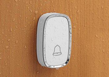 wet white buzzer on wooden door