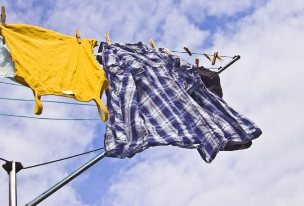 clothing hung out to dry under the sun