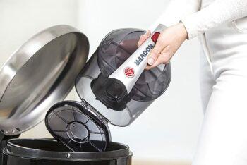 emptying the dust bin