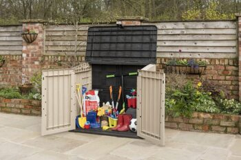 tools in outdoor storage space